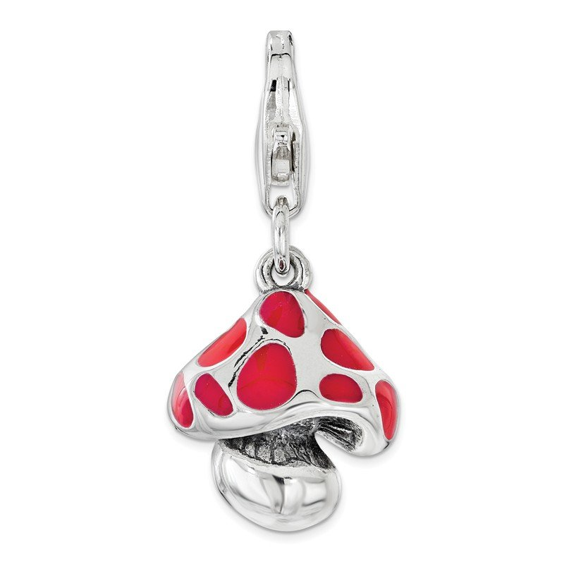 Quality Gold Sterling Silver Red Enameled Mushroom with Lobster Clasp Charm