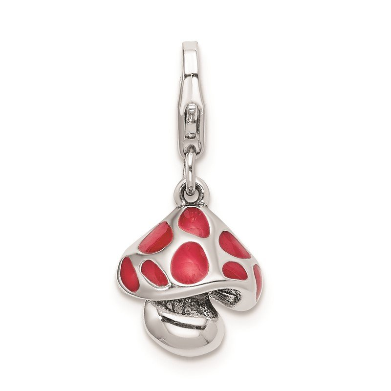 Quality Gold Sterling Silver RH Red Enameled Mushroom with Lobster Clasp Charm