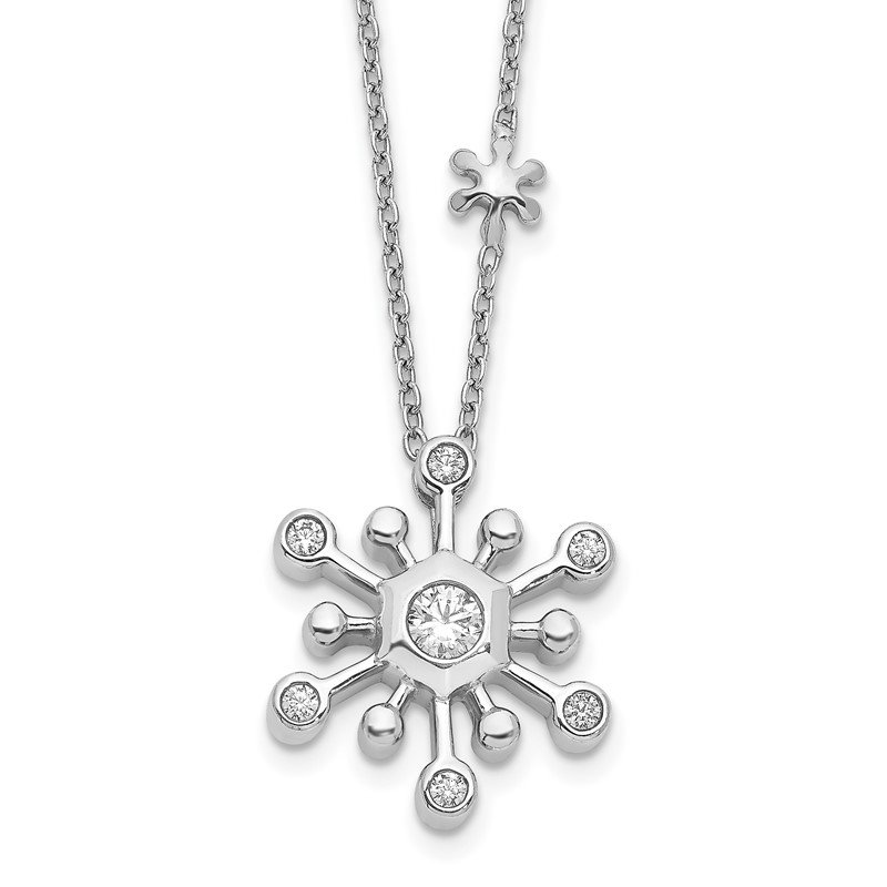 Quality Gold 14k White Gold Diamond Snowflake 18 inch Necklace