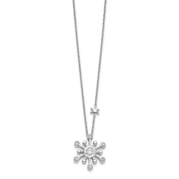 14k White Gold Diamond Snowflake 18 inch Necklace