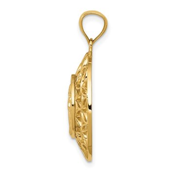 14k Gold Polished Angel D/C Medal Pendant