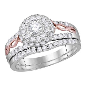 14kt White Gold Womens Round Diamond Halo Rose-tone Twist Bridal Wedding Engagement Ring Band Set 1.00 Cttw