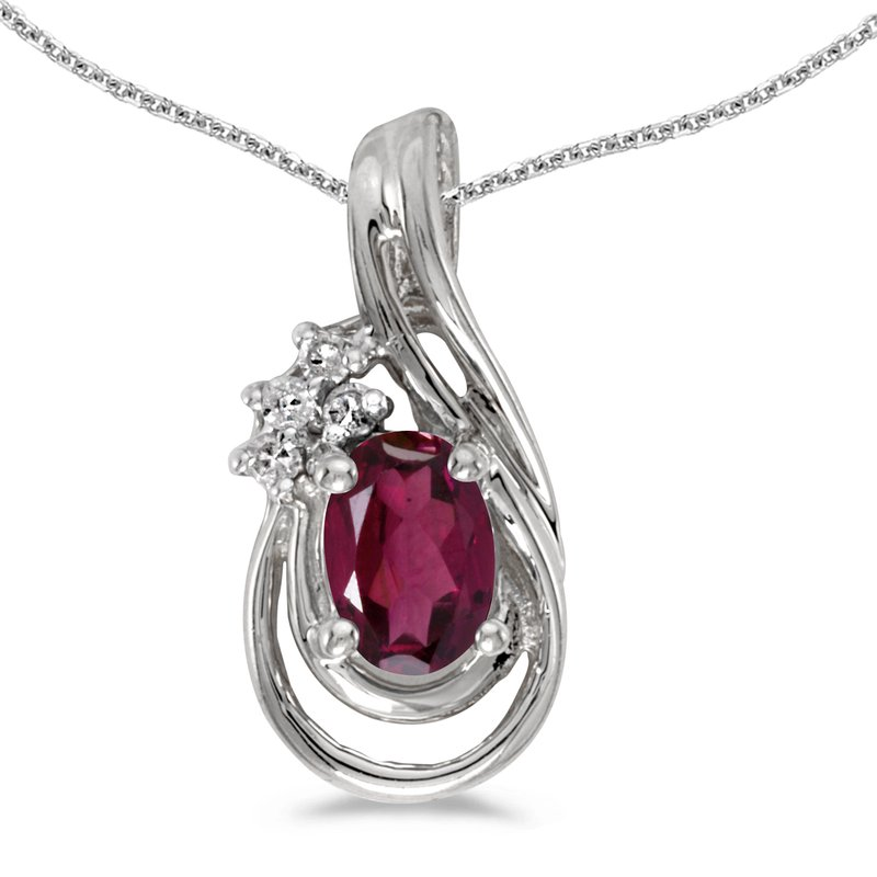 Color Merchants 14k White Gold Oval Rhodolite Garnet And Diamond Teardrop Pendant
