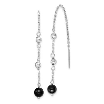 Sterling Silver Rhodium-plated Black Onyx Dangle Earrings
