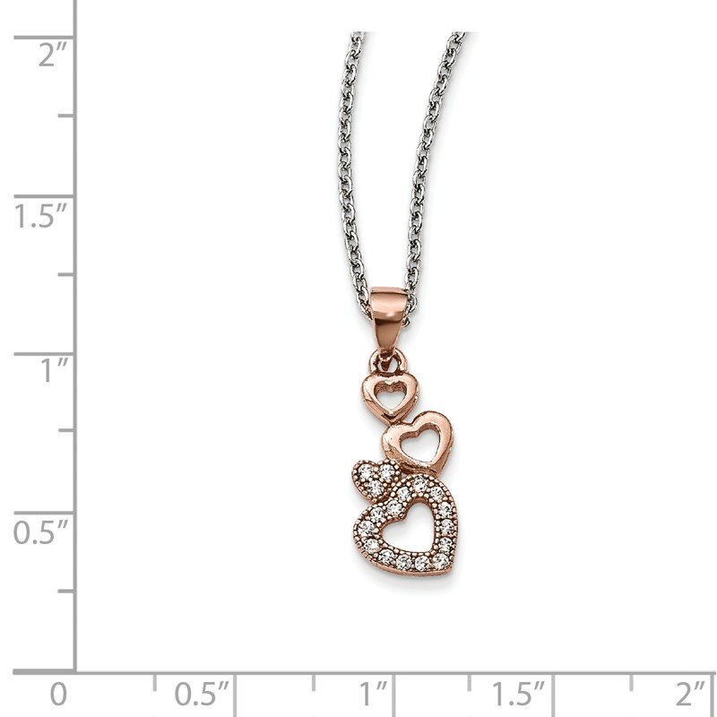 Quality Gold Sterling Silver Rose-tone CZ Brilliant Embers Hearts Necklace