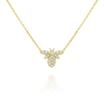 14k Gold and Diamodn Mini Bee Necklace