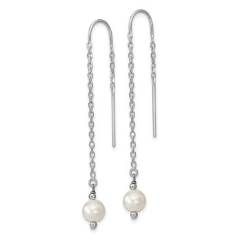 Sterling Silver RH 6-7mm White FW Cultured Pearl Threaded Earrings