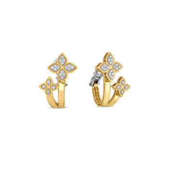 18KT GOLD HUGGIE EARRINGS WITH DIAMONDS