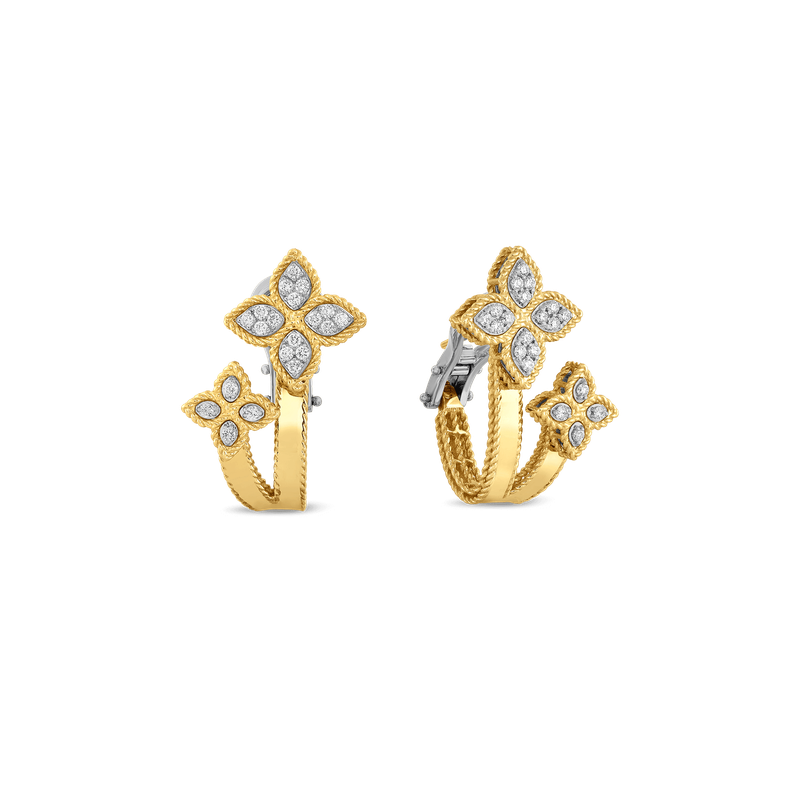 Roberto Coin 18Kt Gold Huggie Earrings With Diamonds
