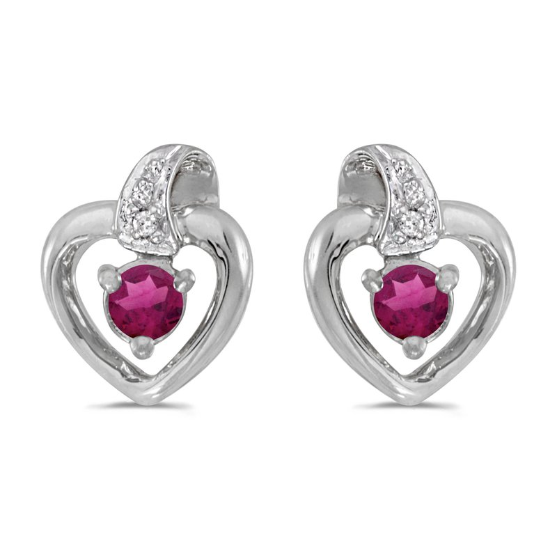 Color Merchants 14k White Gold Round Rhodolite Garnet And Diamond Heart Earrings