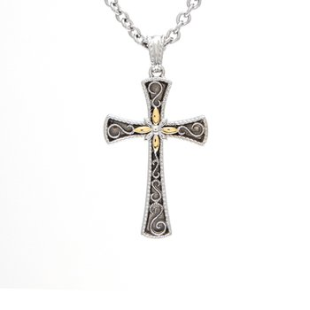 18kt and Sterling Silver Cross Pendant with Chain