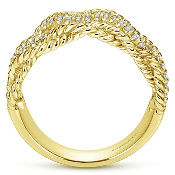 14K Yellow Gold Twisted Textured Wide Band Pave Diamond Ring