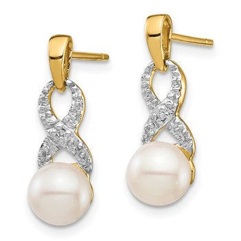 14k 6-7mm White Round FWC Pearl .01 Diamond Dangle Earrings