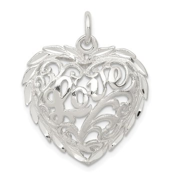 Sterling Silver Diamond-Cut Heart Charm