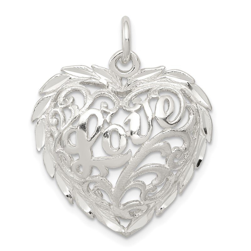 Quality Gold Sterling Silver Diamond-Cut Heart Charm