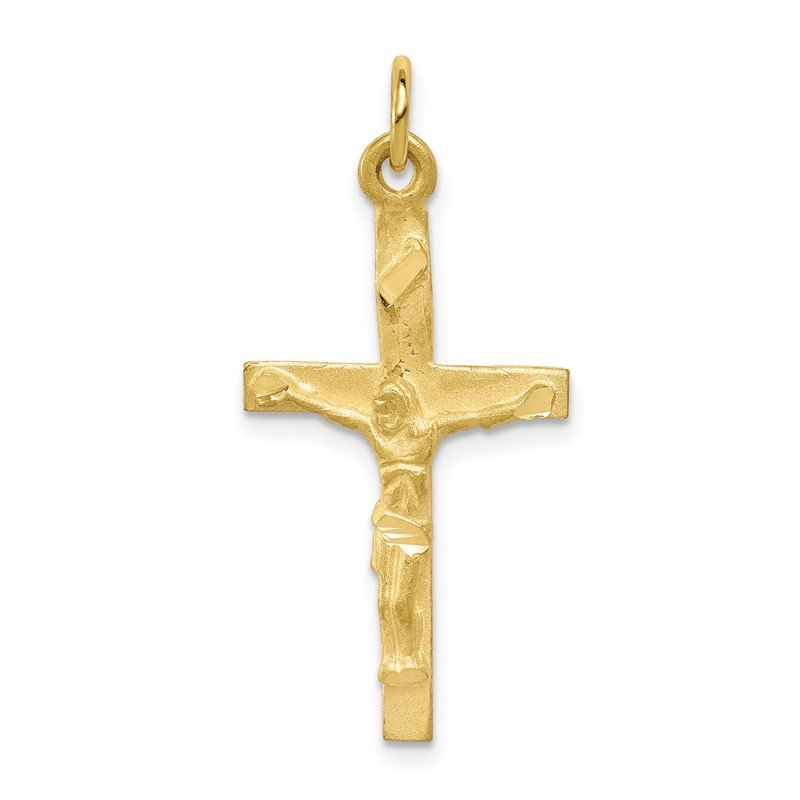 Quality Gold 10k Solid Polished Crucifix Pendant