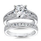 Caro74 Grand Opulance Collection Diamond Engagement Ring With Side Stones in 14K White Gold with Platinum Head (2ct. tw.)