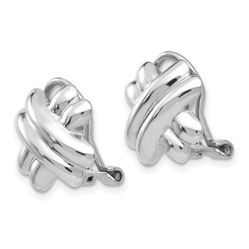 14k White Gold Polished Non-pierced X Omega Back Earrings