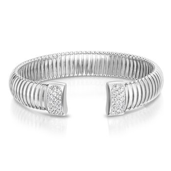 Silver Cavour White CZ Bangle