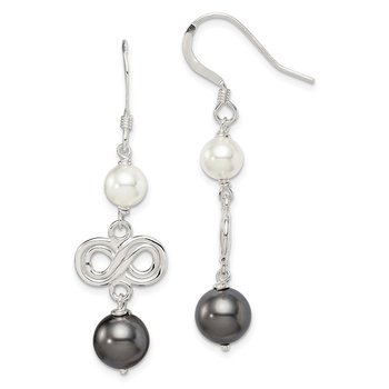 Sterling Silver Dark Grey and White Swarovski Crystal Pearl Earrings