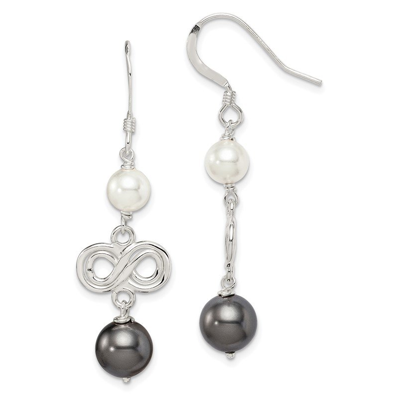 Quality Gold Sterling Silver Dark Grey and White Swarovski Crystal Pearl Earrings
