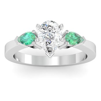 Classic Pear Shaped Emerald Engagement Ring
