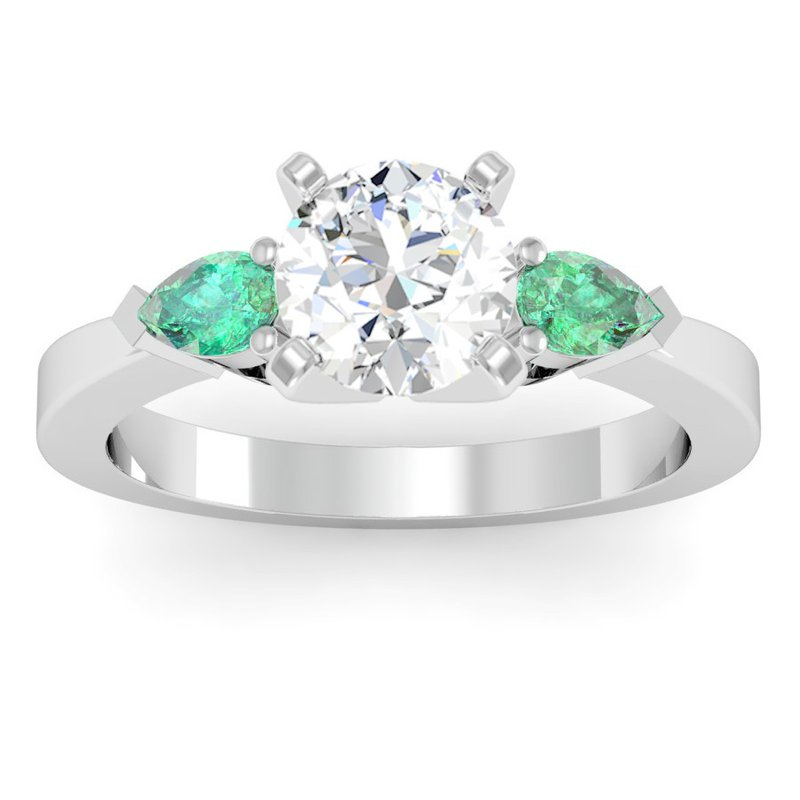 J.F. Kruse Signature Collection Classic Pear Shaped Emerald Engagement Ring