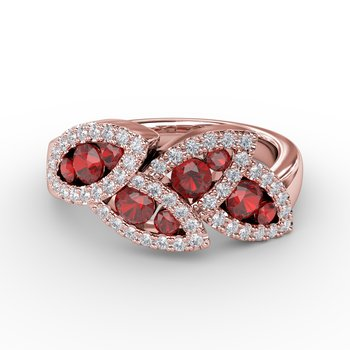 Glam Galore Dramatic Ruby and Diamond Leaf Ring