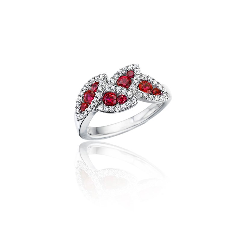 Fana Glam Galore Dramatic Ruby and Diamond Leaf Ring