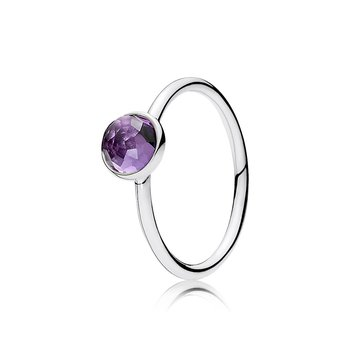 February Droplet Ring, Synthetic Amethyst