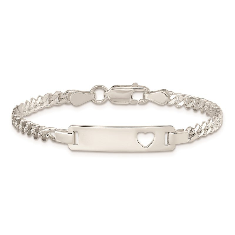 Quality Gold Sterling Silver Baby ID with Cut-out Heart Bracelet