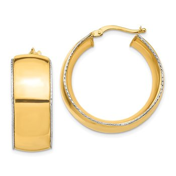 14K Two-Tone 11x27mm D/C Edge Hoop Earrings