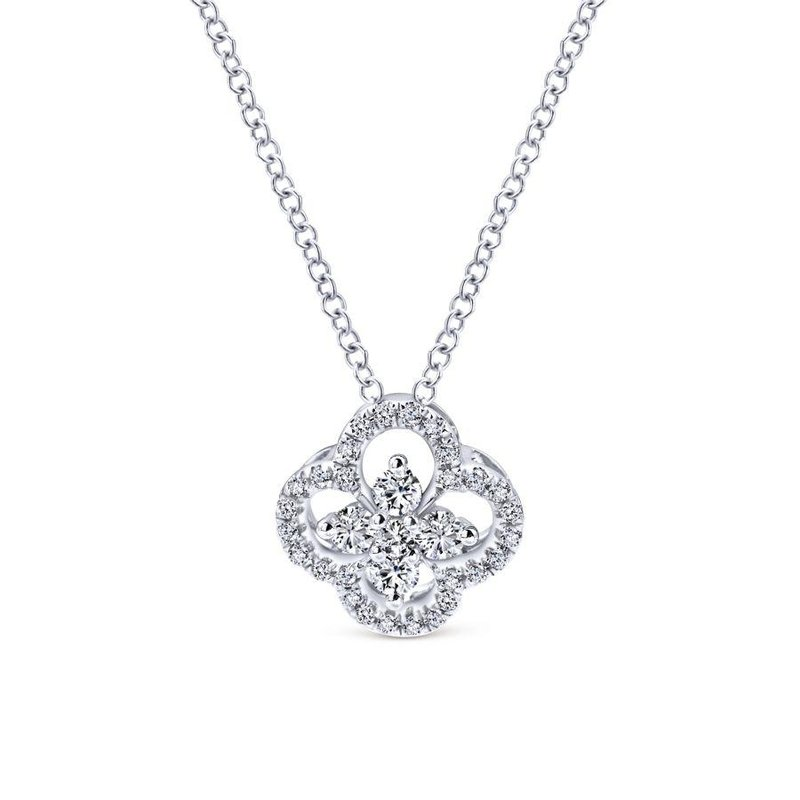 Gabriel Fashion 14K White Gold Open Clover Diamond Pendant Necklace