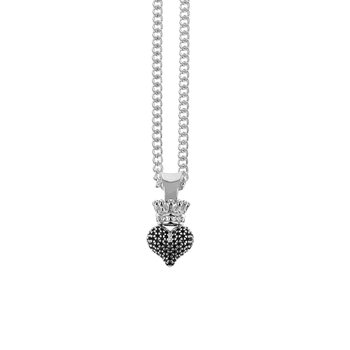 3D Crowned Heart Pendant - Silver And Black Cz Pave Cps13115 On 18' Curb Link Chain