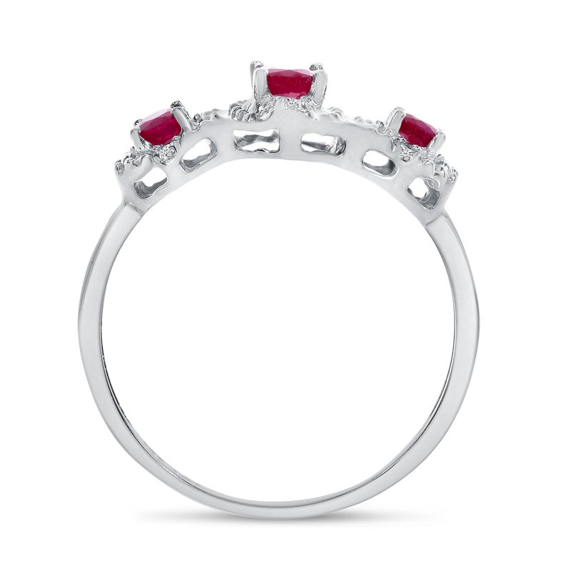 Color Merchants 10k White Gold Oval Ruby And Diamond Three Stone Ring