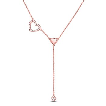 14kt Rose Gold Womens Round Diamond Heart Drop Pendant Necklace 1/6 Cttw