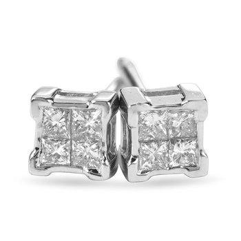 14K WG Diamond Invisible Set Stud Earrings
