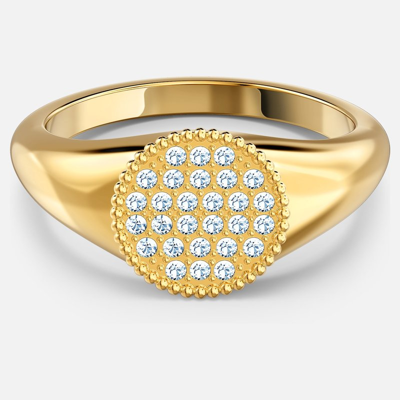 Ginger Signet Ring, White, Gold-tone plated