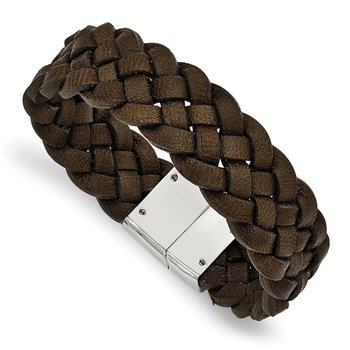 Stainless Steel Polished Woven Brown Leather 8.75in Bracelet