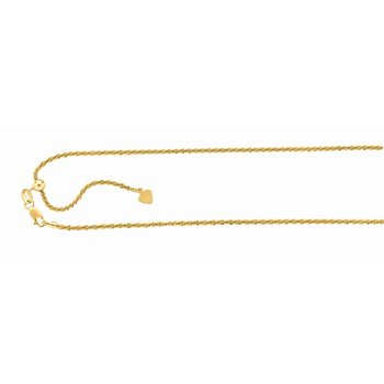 Silver 1.5mm Adjustable Yellow Sparkle Chain