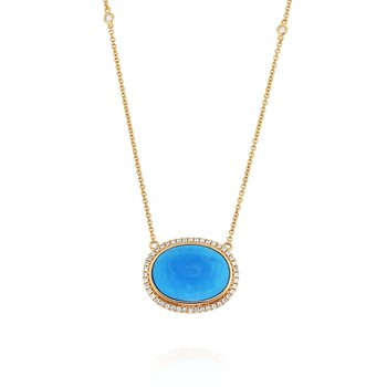 Turquoise & Diamond Halo Necklace 18KR