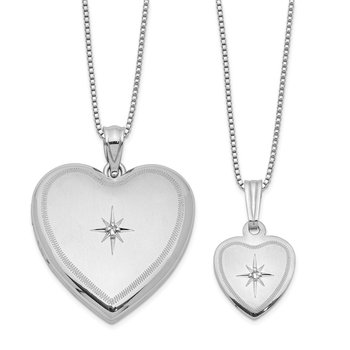 Sterling Silver RH-plated Diamond Pol/Satin Heart Locket & Pendant Set