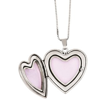 Sterling Silver RH-plated Diamond Polished Satin Heart Locket & Pend Neckla