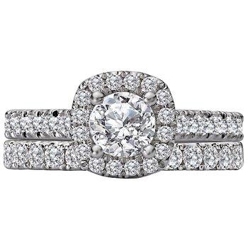 Halo Diamond Engagement Ring with Center