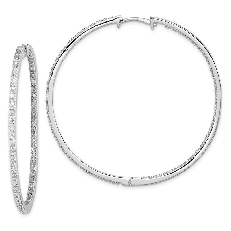 Quality Gold Sterling Silver Rhodium-plated Diamond In & Out Hoop Earrings
