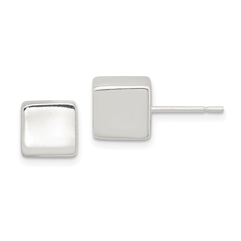 Quality Gold Sterling Silver Polished 8mm Square Cube Earrings