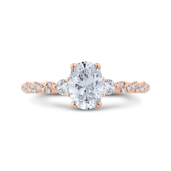 18K Rose Gold Diamond Engagement Ring (Semi-Mount)