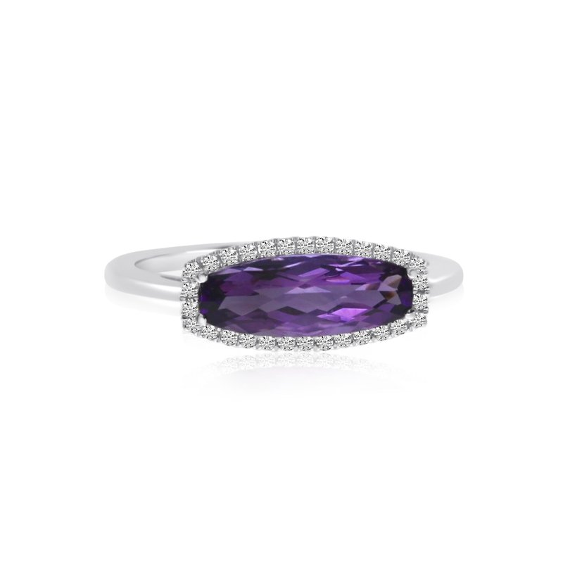 Color Merchants 14K White Gold Elongated Baguette Amethyst and Diamond Ring