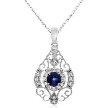 14k White Gold Round Sapphire and Diamond Pendant