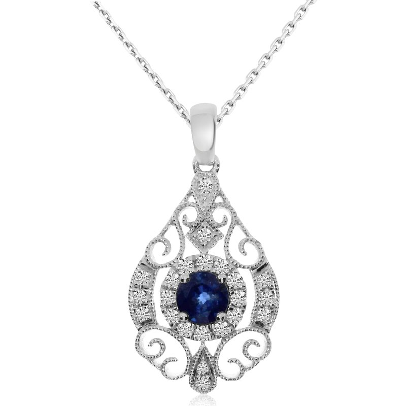 Color Merchants 14k White Gold Round Sapphire and Diamond Pendant